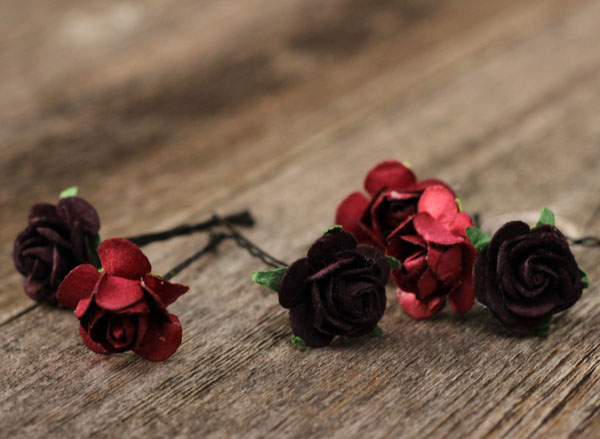 Burgundy and Plum Wedding Flower Hair Pins